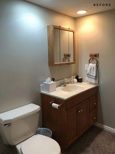 Our Basement Bathroom Design Plan & Before Images - roomfortuesday.com Basement Flooring, Basement Bathroom, Heated Tile Floor, Kohler Toilet, Bathroom Images, Bathroom Ideas, Marble Vanity Tops, Bathroom Hardware, Plumbing Fixtures