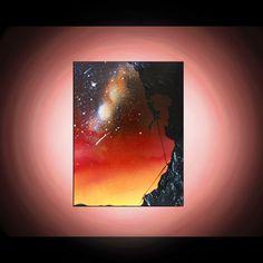 Rock Climber Silhouette Art - Original Painting - Spray Paint Art - Painting on Canvas - Desert Sky - Stars - Sunset - Landscape Painting
