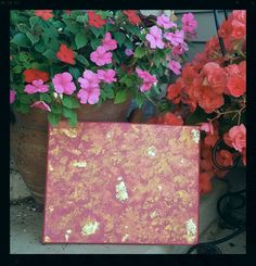 Magenta painted canvas with bronze and gold sponged painted finish with adhered foil accents. - pinned by pin4etsy.com