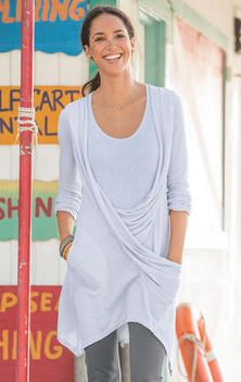 ORGANIC DRAPED TUNIC -- This supremely comfortable long drapey tunic is a  winner. Graceful draping, asymmetrical hem and one pocket.