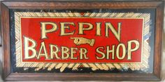 Super Antique Reverse Painted And Gilt On Glass Barber Shop Sign