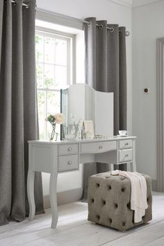 Bedroom GOALS with Next's Marielle dressing table and cube combo. Visit housebeautiful.co.uk for more bedroom ideas.