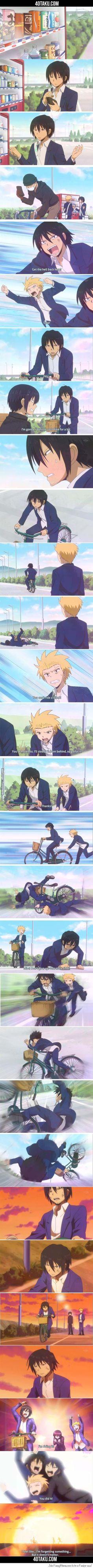 Scene from Danshi Koukousei no Nichijou (daily lives of high school boys)