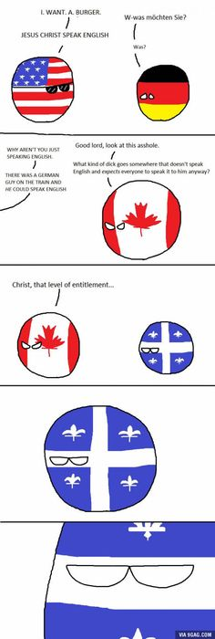 """Quebec is not amused. Also, poor Germany! <<< Oh, my God, Quebec is looking into the camera like they're on """"The Office"""". Canadian Memes, Canadian Things, Quebec, Canada Jokes, Funny Comic Strips, History Memes, Fun Comics, Funny Images, Hilarious"""