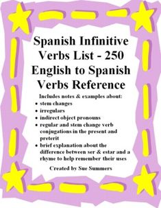 Spanish Verbs List - 250 English to Spanish Infinitive Verbs Reference by Sue Summers - Includes notes about irregulars, stem change, present and preterit verb forms, etc.