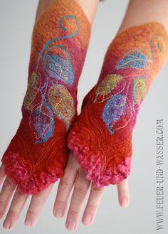 Felted Cuffs - Felted gloves - Arm warmers - Felt hand warmers - Nuno Felted Cuffs- Sunrise Vine