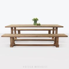 reclaimed teak dining table with two reclaimed teak benches