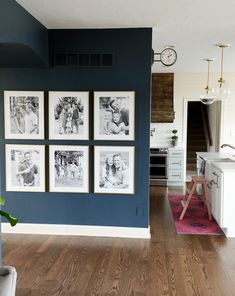 Modern-day Inside Style In Your Laundry Space Easy Photo Wall Gallery Ideas Via Sincerely, Sara D. Love The Navy Walls With The Gold Frames Navy Accent Walls, Navy Walls, Accent Wall Bedroom, Gallery Wall Frames, Frames On Wall, Gold Frames, Gold Frame Wall, White Frames, Gallery Walls
