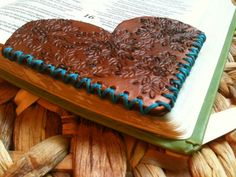 Items similar to Unique Leather Corner Bookmark - Heart Shaped on Etsy Leather Hats, Leather Tooling, Tooled Leather, Leather Key, Tan Leather, Leather Scraps, Corner Bookmarks, Leather Pieces, Leather Projects