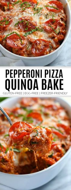 Craving pizza but not the takeout price tag or the gluten? Try out Pepperoni Pizza Quinoa Bake for a healthier twist on an old favorite! Perfect for meal preps and busy weeknights. Prep: 10 min, Cook: 30 min. Serves 4-5.