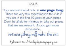 Job Search Tip of the Day: 1 Page Resume