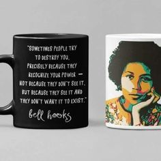 The Trini Gee offers a collection of African American coffee mugs meant to add a bit of flavor to your morning. Wake up the right way with your favorite coffee or tea from one of The Trini Gee's trendy African American Coffee cups. The perfect gif... Bell Hooks, Tv Moms, Nurse Mugs, Modern Portraits, Microwaves Uses, Black Quotes, Perfect Gif, Gifts For Readers