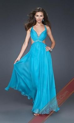 Long Blue A-Line Sleeveless Prom Dress,Sexy Evening Gowns