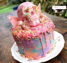 Pastel Drippy Cake + Pink Chocolate Skull & Shards