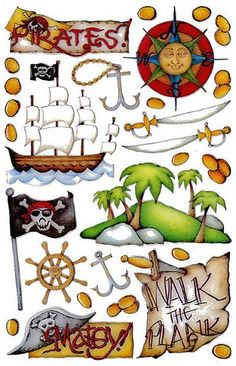 Pirates - Epoxy Scrapbooking Stickers