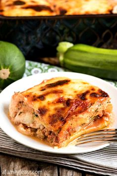 Our Zucchini Lasagna is cheesy and meaty…and a delicious way to use up those large zucchini growing in your garden.