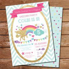 Unicorn Party Invitation - Glitter Unicorn Invitation #UnicornParty #UnicornInvitation
