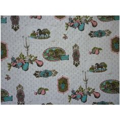 Charming Old Fashioned Scenes Horses Fruit Candles Vintage Decorator Fabric 2…