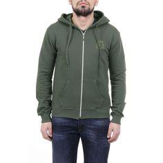 Versace 19.69 Abbigliamento Sportivo Srl Milano Italia Mens Hoodie With Zip ART. 4468 MILITARY GREEN