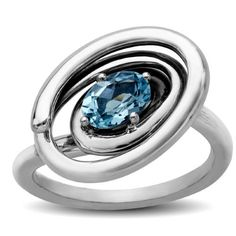 Evert DeGraeve 7/8 ct Natural Baby Blue Topaz Whirl Ring in Sterling Silver, Infant Girl's