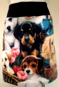 Oh My Dog Tube Skirt. Fleecy print front, black stretch back. Tube Skirt, Vintage Patterns, Dog, The Originals, Fabric, Clothes, Black, Women, Diy Dog