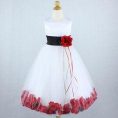 WHITE Flower Girl Dress Black Sash Red Brooch by LittleChat