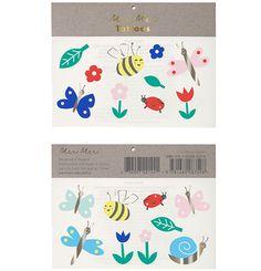 Zwei Bögen Klebetattoos von Meri Meri. Bugs and Flowers, Bogengröße: 7,5 x 12,7 cm, EUR 2,60