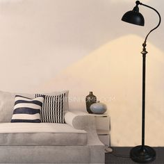 Pastoral Simple Black Wrought Iron Adjustable Floor Lamps