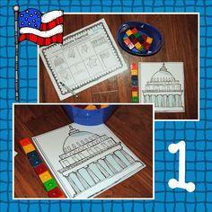Measure America- US Symbols math & Literacy Centers