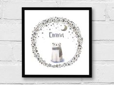 Twinkle Twinkle Little Bear - Nursery Art, Baby/ Kids/ Children's Room Decor, Giclee Print, Personalized Custom Gift Bear Nursery, Nursery Art, Customized Gifts, Personalized Gifts, Star Illustration, Shabby Chic Frames, Art Original, Childrens Room Decor, Bear Art