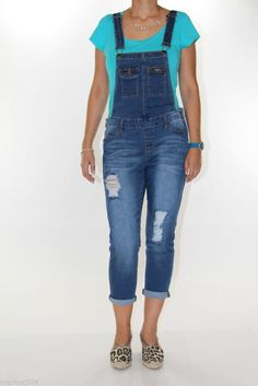 Sneak Peek Overall capri jeans women's girls Denim Romper Jumpsuit Ripped faded #SneakPeek #Overalls