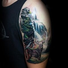 deer-in-forest-waterfall-upper-arm-tattoo-for-males.jpg (600×600)