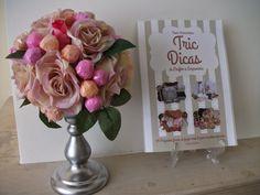 DIY como  fazer um centro de mesa,  topiaria de flores vintage e pirulit...