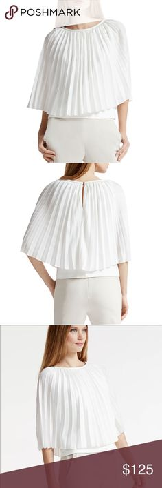 Halston Heritage pleated top White pleated poncho top. Ponte underneath and leather neckline. Only worn once. Halston Heritage Tops Blouses