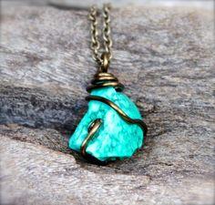 Raw Turquoise Necklace  Raw Stone Jewelry  by MermaidTearsDesigns, $48.00