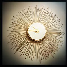 Sunburst Wall Clock, Bicycle Spoke Wall Clock, Large Wall Clock, Starburst Bike Clock, Unusual Unique Clock, Mid Century Modern Wall Clock by DreamGreatDreams on Etsy https://www.etsy.com/listing/237903796/sunburst-wall-clock-bicycle-spoke-wall