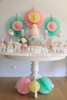 Pastel Tea Party with Such Cute Ideas via Kara's Party Ideas | Cake, desserts, decor, favors, printables, games, and MORE! KarasPartyIdeas.c...