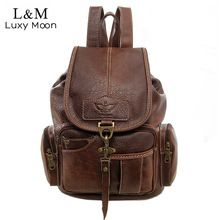 US $25.01 Vintage Women Backpack for Teenage Girls School Bags Fashion Large Backpacks High Quality PU Leather Black Bag Brown New XA658H. Aliexpress product
