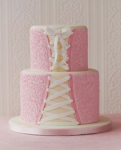 Pretty Pink Corset Cake with Lace