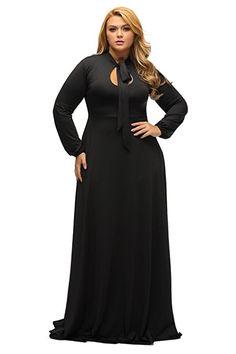 e30d6c7dfe560 Lalagen Women's Vintage Long Sleeve Plus Size Evening Party Maxi Dress Gown  Black L Plus Size
