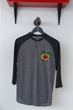 This men's baseball tee is the perfect thing to wear for a weekend #Blackhawks game!