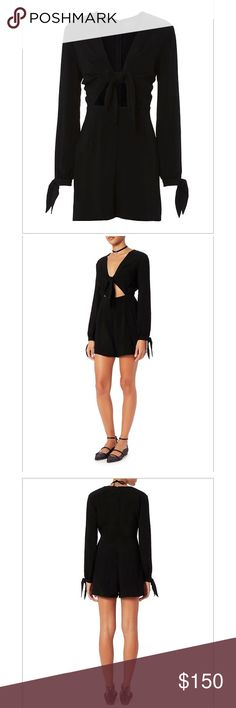 Winter Knot Romper-shopbop intermix revolve NWT Petite, small medium and large. Cut out detail at knot fromt waistline. Self ties at long sleeve cuffs. Zip closure at back in black. Polyester new with tags!! winter Other
