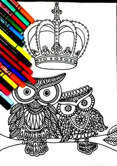 Royal Owl family Coloring page, with many details, complex drawing to color, full of possibilities , color therapy! Attached we have 5 pictures for