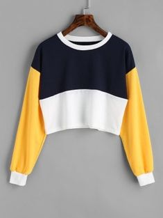Contrast Crop Sweatshirt - Purplishblue + White M
