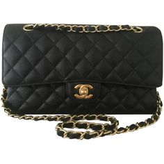 4c945099aa6b Pre-owned Chanel Medium Classic Double Flap Caviar Gold Hardware Shoulder  Bag
