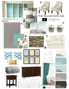 Teal, Gray- especially love the back painted shelving and real wood incorporated with white shelves. Need to mix mission style wood desk with modern colors. This will help. Recover chair seat in gray pattern.