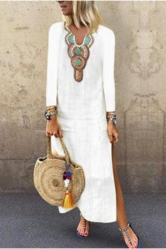 V Neck Long Sleeve Printed Split Casual Dress Split Maxi Dress Long White Dresses Look Fashion, Fashion Outfits, Womens Fashion, Fashion Ideas, Dress Fashion, Fashion Clothes, Fashion Boots, Spring Fashion, Fashion Trends