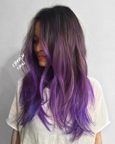 50 Cool Ideas of Lavender Ombre Hair and Purple Ombre - bright purple hair color - Brown Ombre Hair, Brown Hair With Highlights, Color Highlights, Brown Hair Ombre Purple, Long Purple Hair, Violet Highlights, Brown Hair With Blue, Purple Hair Streaks, Peekaboo Highlights