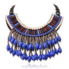 Collier femme ethnique bleu