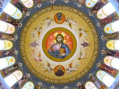 Looking up at the ornate domed ceiling of the sanctuary inside the newly-completed Holy Trinity Greek Orthodox Church in downtown Columbia, South Carolina. Fresco, Orthodox Catholic, Church Interior, Byzantine Icons, Church Architecture, My Church, Art Icon, Orthodox Icons, Russian Art